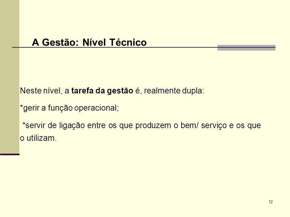 12 A Gestão: Nível Técnico Neste nível, a tarefa da gestão é, realmente dupla: *gerir a função operacional; *servir de ligação entre os que produzem o