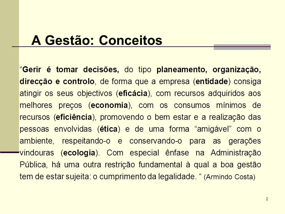 2 A Gestão: Conceitos Gerir é tomar decisões, do tipo planeamento, organização, direcção e controlo, de forma que a empresa (entidade) consiga atingir