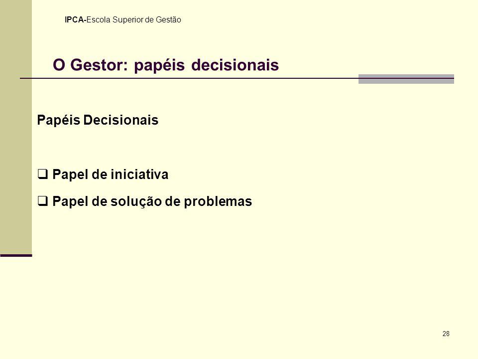 28 IPCA-Escola Superior de Gestão O Gestor: papéis decisionais Papéis Decisionais Papel de iniciativa Papel de solução de problemas