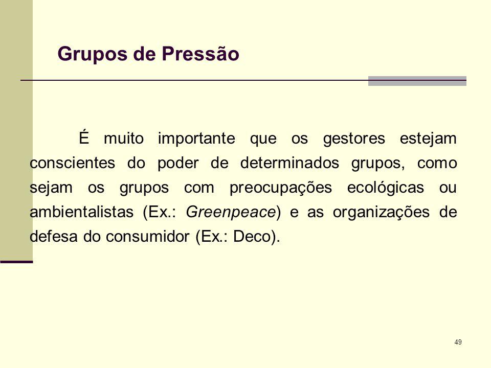 49 Grupos de Pressão É muito importante que os gestores estejam conscientes do poder de determinados grupos, como sejam os grupos com preocupações eco