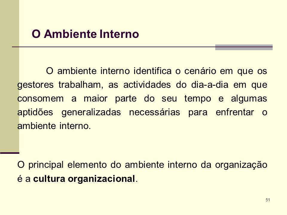 51 O Ambiente Interno O ambiente interno identifica o cenário em que os gestores trabalham, as actividades do dia-a-dia em que consomem a maior parte