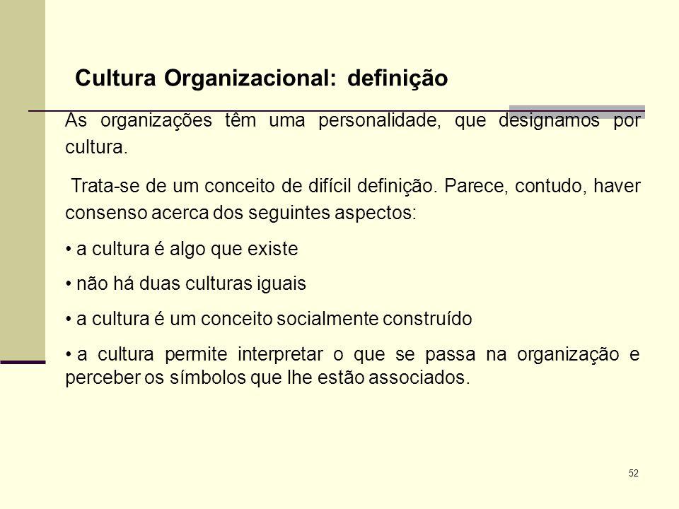 52 Cultura Organizacional: definição As organizações têm uma personalidade, que designamos por cultura. Trata-se de um conceito de difícil definição.