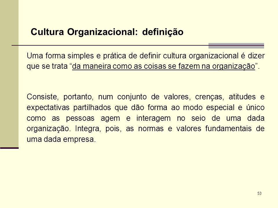 53 Cultura Organizacional: definição Uma forma simples e prática de definir cultura organizacional é dizer que se trata da maneira como as coisas se f