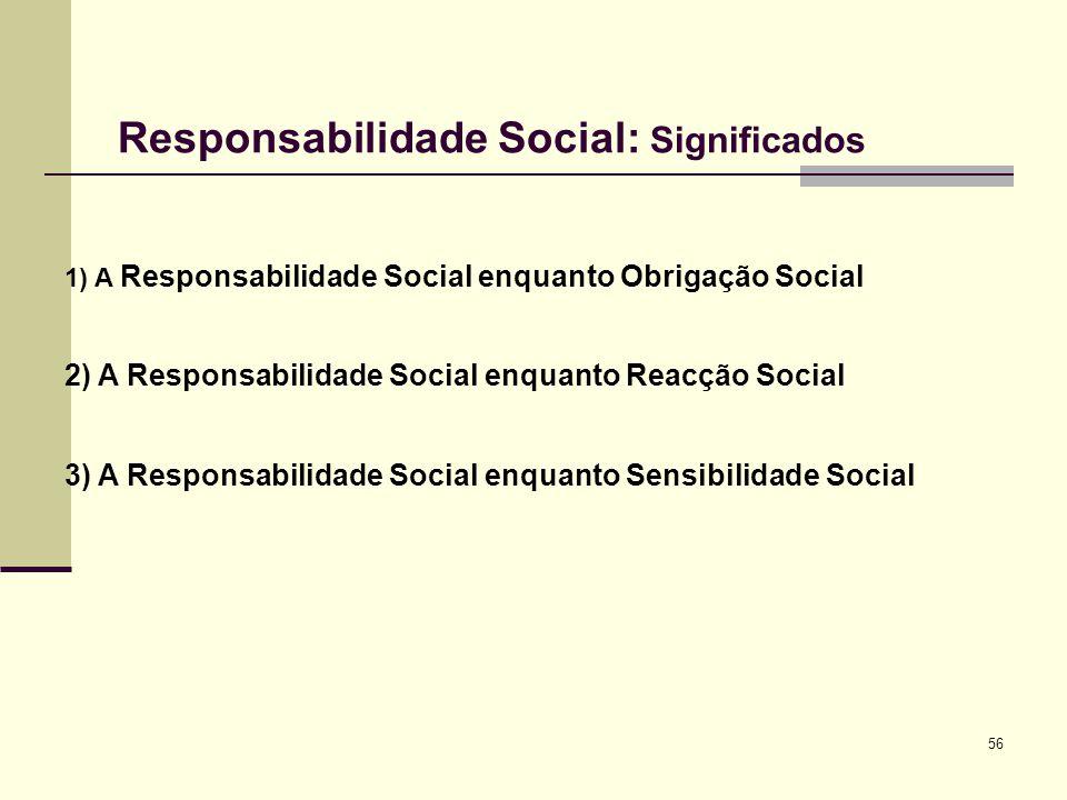 56 Responsabilidade Social: Significados 1) A Responsabilidade Social enquanto Obrigação Social 2) A Responsabilidade Social enquanto Reacção Social 3