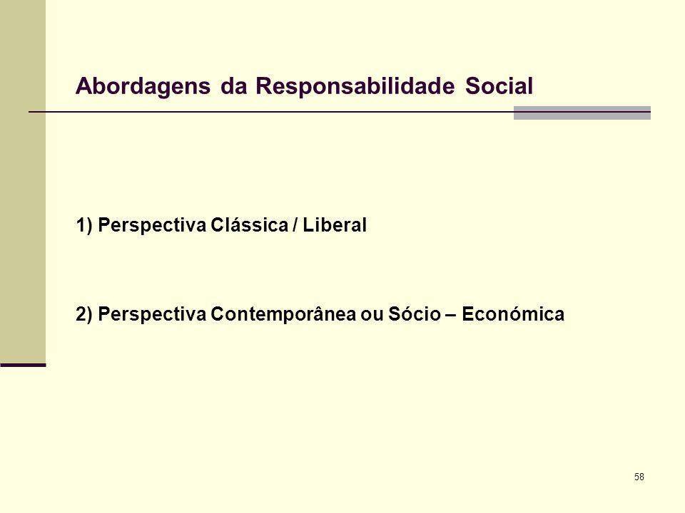 58 Abordagens da Responsabilidade Social 1) Perspectiva Clássica / Liberal 2) Perspectiva Contemporânea ou Sócio – Económica