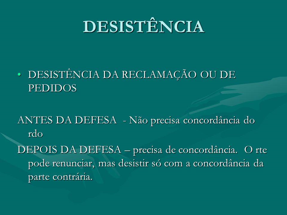 DESISTÊNCIA DESISTÊNCIA DA RECLAMAÇÃO OU DE PEDIDOSDESISTÊNCIA DA RECLAMAÇÃO OU DE PEDIDOS ANTES DA DEFESA - Não precisa concordância do rdo DEPOIS DA