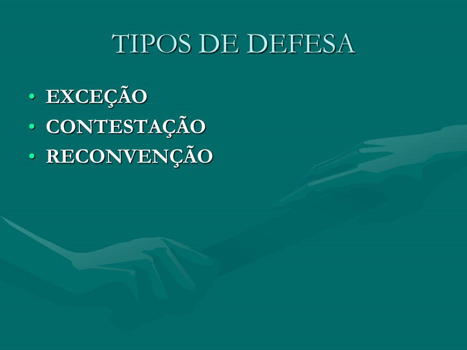 TIPOS DE DEFESA EXCEÇÃOEXCEÇÃO CONTESTAÇÃOCONTESTAÇÃO RECONVENÇÃORECONVENÇÃO