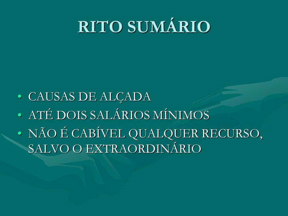 RITO SUMÁRIO CAUSAS DE ALÇADACAUSAS DE ALÇADA ATÉ DOIS SALÁRIOS MÍNIMOSATÉ DOIS SALÁRIOS MÍNIMOS NÃO É CABÍVEL QUALQUER RECURSO, SALVO O EXTRAORDINÁRI