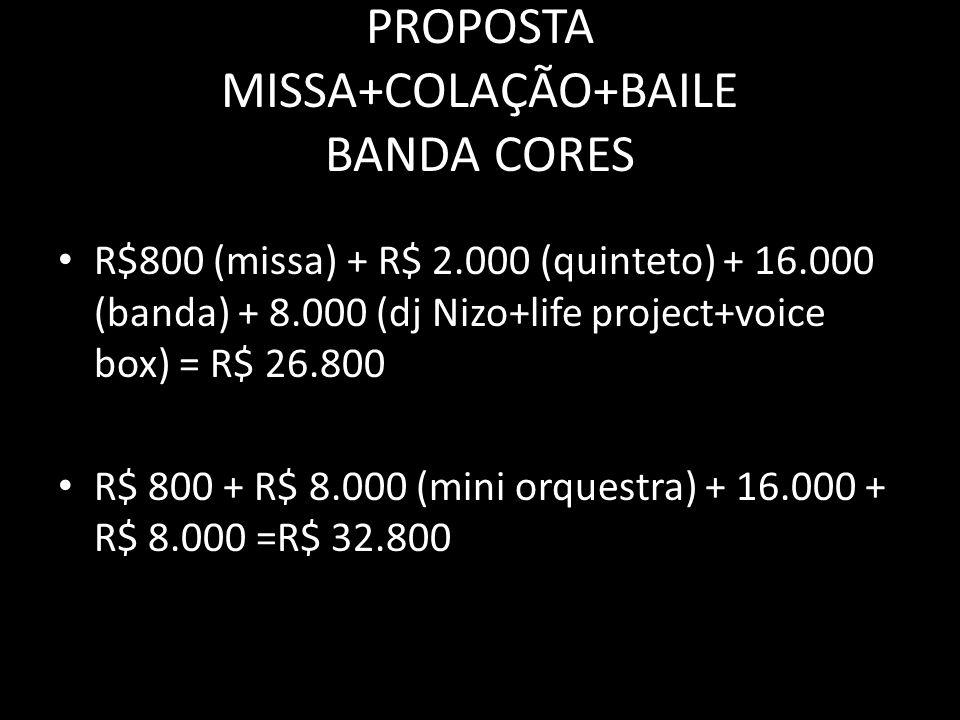 PROPOSTA MISSA+COLAÇÃO+BAILE R$ 800 + 2.000 + 8.000 = R$ 10.800 (sem banda só DJ).