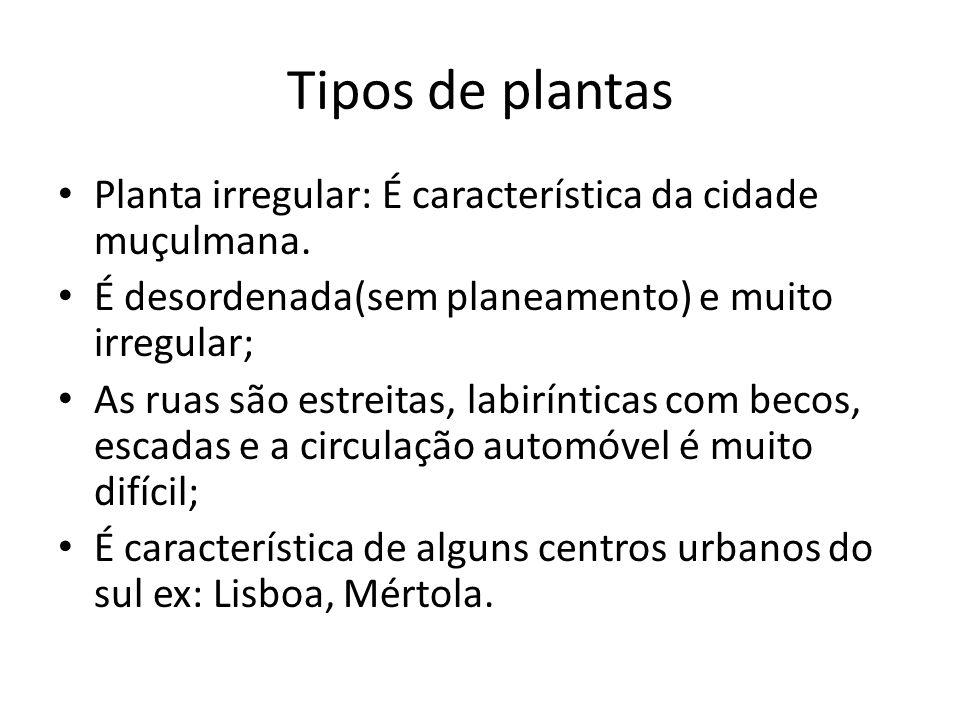 Tipos de plantas Planta irregular: É característica da cidade muçulmana.