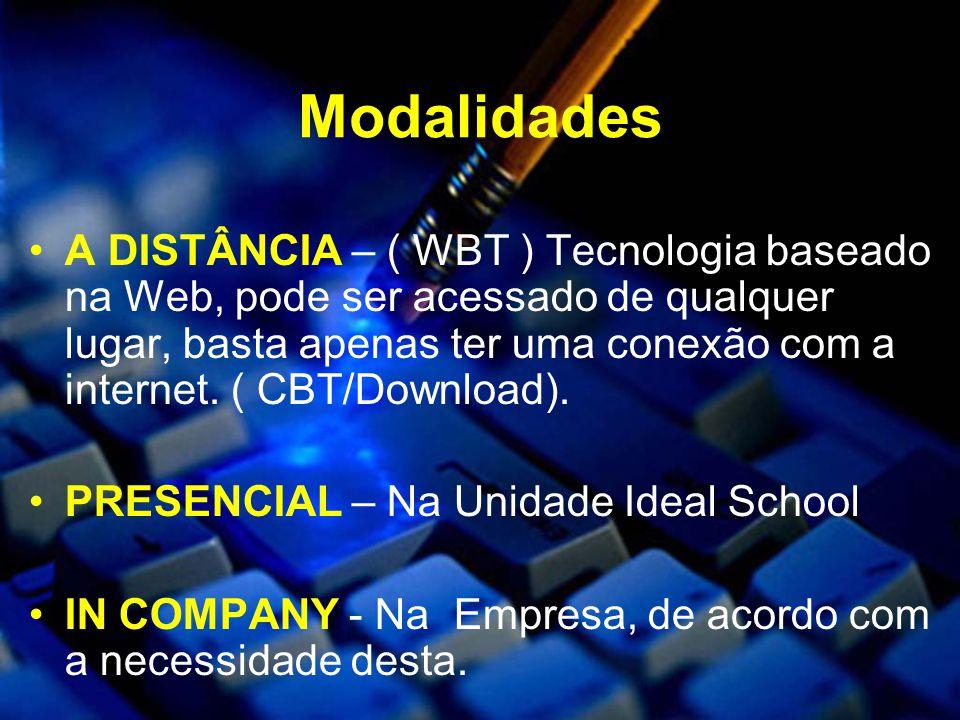 Modalidades A DISTÂNCIA – ( WBT ) Tecnologia baseado na Web, pode ser acessado de qualquer lugar, basta apenas ter uma conexão com a internet.