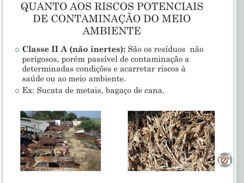 QUANTO AOS RISCOS POTENCIAIS DE CONTAMINAÇÃO DO MEIO AMBIENTE C lasse II B (Inertes): São aqueles que, por suas características, não oferecem riscos à saúde e ao meio ambiente.