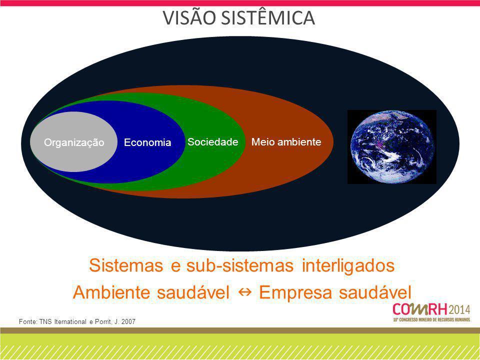 VISÃO SISTÊMICA Meio ambiente Sociedade Economia Organização Fonte: TNS Iternational e Porrit, J. 2007 Sistemas e sub-sistemas interligados Ambiente s