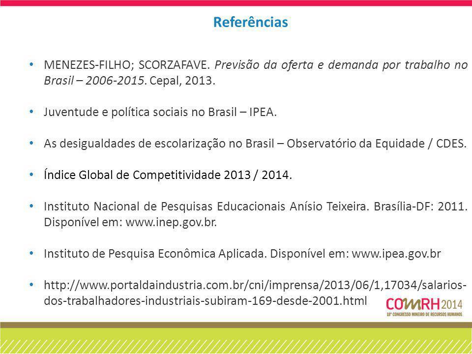 MENEZES-FILHO; SCORZAFAVE. Previsão da oferta e demanda por trabalho no Brasil – 2006-2015. Cepal, 2013. Juventude e política sociais no Brasil – IPEA