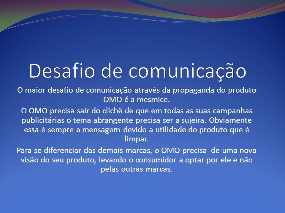 O maior desafio de comunicação através da propaganda do produto OMO é a mesmice. O OMO precisa sair do clichê de que em todas as suas campanhas public