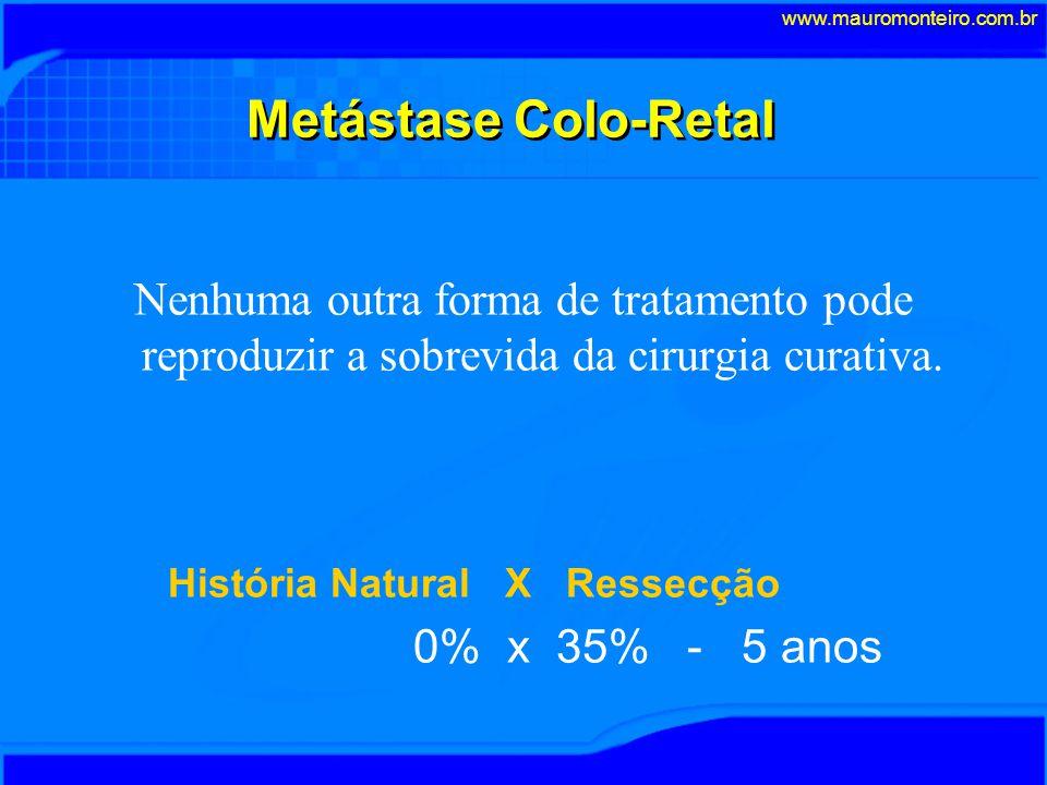 Metástase Colo-Retal Nenhuma outra forma de tratamento pode reproduzir a sobrevida da cirurgia curativa.