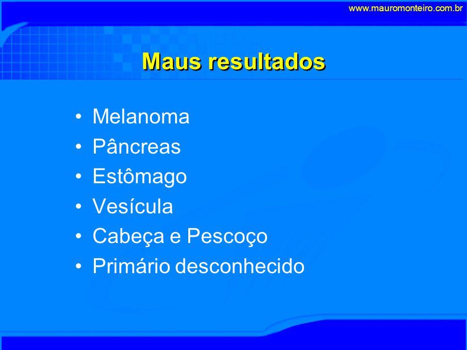 Prevalência e Resultados do INCA FasesPeríodonn/anoMortalidade I50-86661,821% II87-95364,513% III97-982412,012% IV99-20002416,00% Total: 150 www.mauromonteiro.com.br