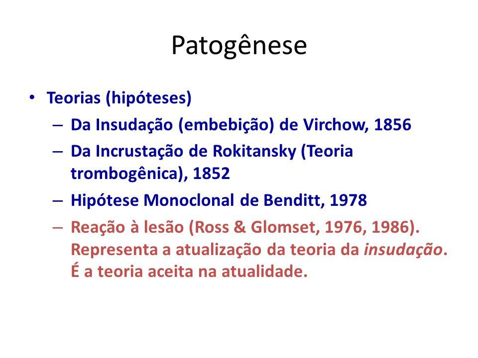 Patogênese Teorias (hipóteses) – Da Insudação (embebição) de Virchow, 1856 – Da Incrustação de Rokitansky (Teoria trombogênica), 1852 – Hipótese Monoclonal de Benditt, 1978 – Reação à lesão (Ross & Glomset, 1976, 1986).
