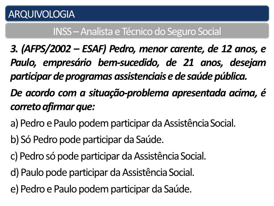 ARQUIVOLOGIA INSS – Analista e Técnico do Seguro Social 3.