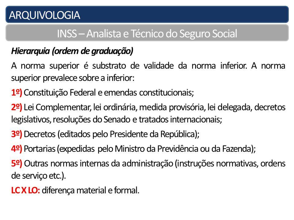 ARQUIVOLOGIA INSS – Analista e Técnico do Seguro Social Hierarquia (ordem de graduação) A norma superior é substrato de validade da norma inferior.