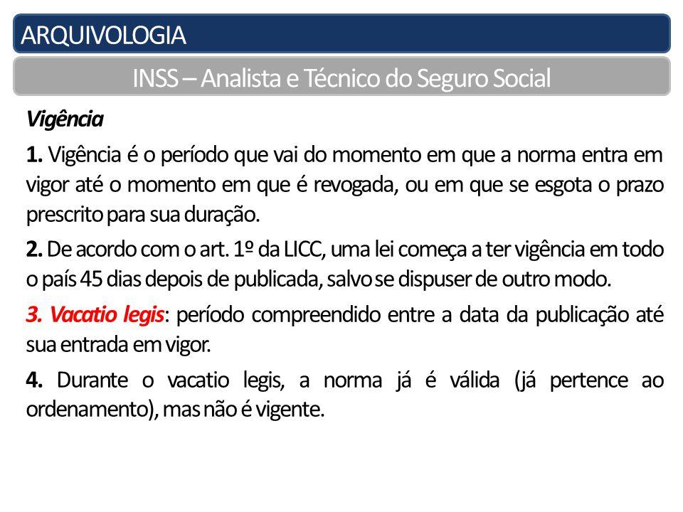 ARQUIVOLOGIA INSS – Analista e Técnico do Seguro Social Vigência 1.