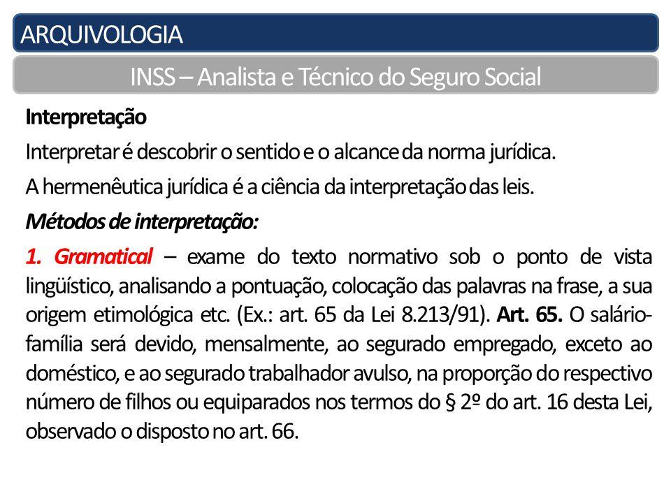 ARQUIVOLOGIA INSS – Analista e Técnico do Seguro Social Interpretação Interpretar é descobrir o sentido e o alcance da norma jurídica.
