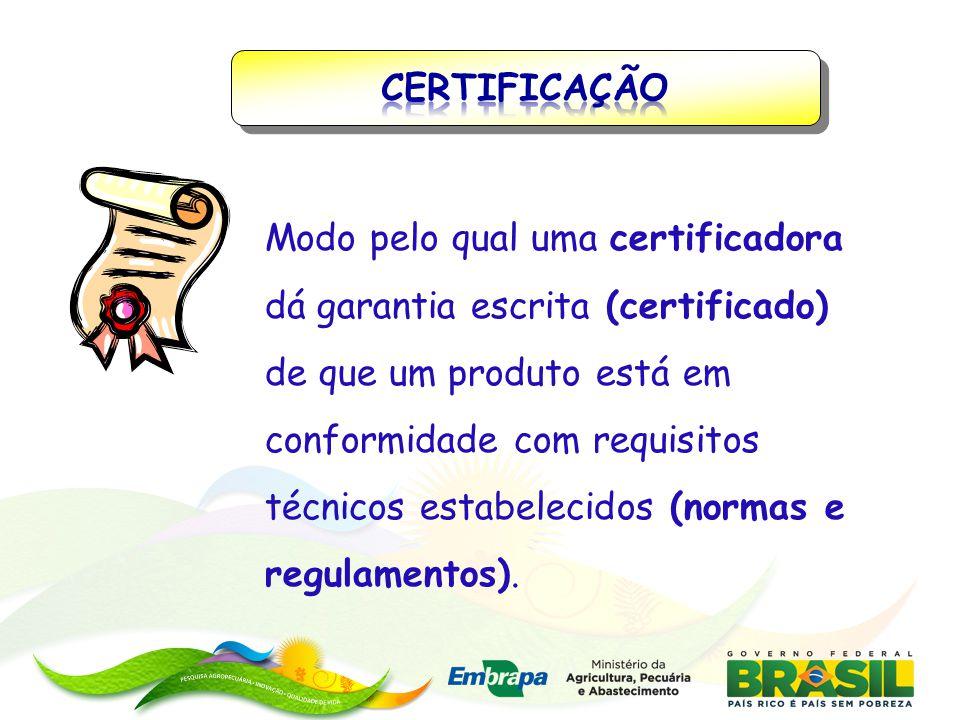 Modo pelo qual uma certificadora dá garantia escrita (certificado) de que um produto está em conformidade com requisitos técnicos estabelecidos (norma