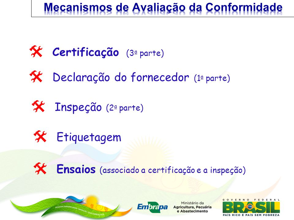 Ensaios (associado a certificação e a inspeção) Declaração do fornecedor (1 a parte) Inspeção (2 a parte) Certificação (3 a parte) Etiquetagem