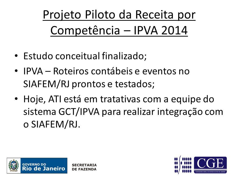 Projeto Piloto da Receita por Competência – IPVA 2014 Estudo conceitual finalizado; IPVA – Roteiros contábeis e eventos no SIAFEM/RJ prontos e testados; Hoje, ATI está em tratativas com a equipe do sistema GCT/IPVA para realizar integração com o SIAFEM/RJ.