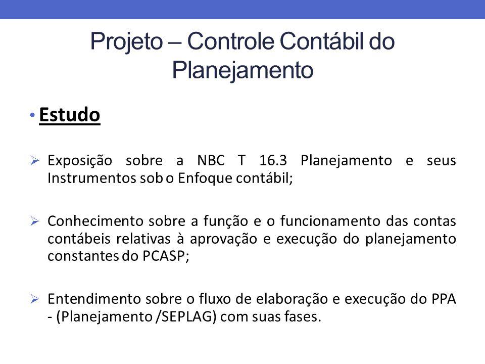 Projeto – Controle Contábil do Planejamento Estudo Exposição sobre a NBC T 16.3 Planejamento e seus Instrumentos sob o Enfoque contábil; Conhecimento sobre a função e o funcionamento das contas contábeis relativas à aprovação e execução do planejamento constantes do PCASP; Entendimento sobre o fluxo de elaboração e execução do PPA - (Planejamento /SEPLAG) com suas fases.
