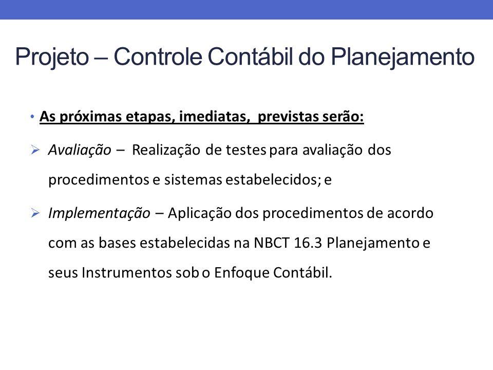 As próximas etapas, imediatas, previstas serão: Avaliação – Realização de testes para avaliação dos procedimentos e sistemas estabelecidos; e Implementação – Aplicação dos procedimentos de acordo com as bases estabelecidas na NBCT 16.3 Planejamento e seus Instrumentos sob o Enfoque Contábil.
