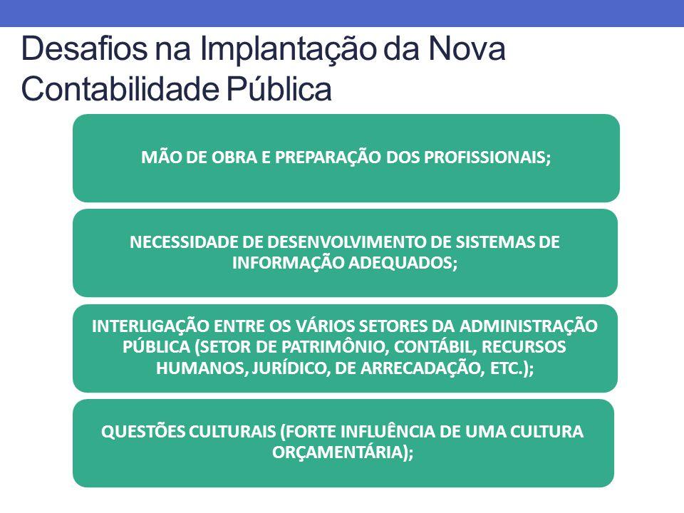 Desafios na Implantação da Nova Contabilidade Pública MÃO DE OBRA E PREPARAÇÃO DOS PROFISSIONAIS; NECESSIDADE DE DESENVOLVIMENTO DE SISTEMAS DE INFORMAÇÃO ADEQUADOS; INTERLIGAÇÃO ENTRE OS VÁRIOS SETORES DA ADMINISTRAÇÃO PÚBLICA (SETOR DE PATRIMÔNIO, CONTÁBIL, RECURSOS HUMANOS, JURÍDICO, DE ARRECADAÇÃO, ETC.); QUESTÕES CULTURAIS (FORTE INFLUÊNCIA DE UMA CULTURA ORÇAMENTÁRIA);