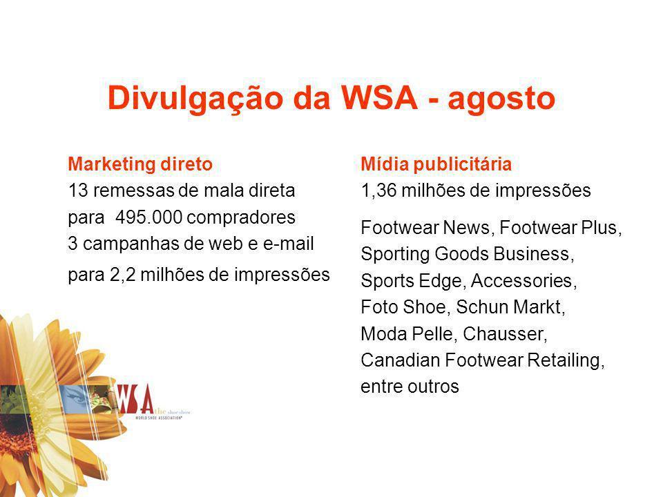 Divulgação da WSA - agosto Mídia publicitária 1,36 milhões de impressões Footwear News, Footwear Plus, Sporting Goods Business, Sports Edge, Accessori