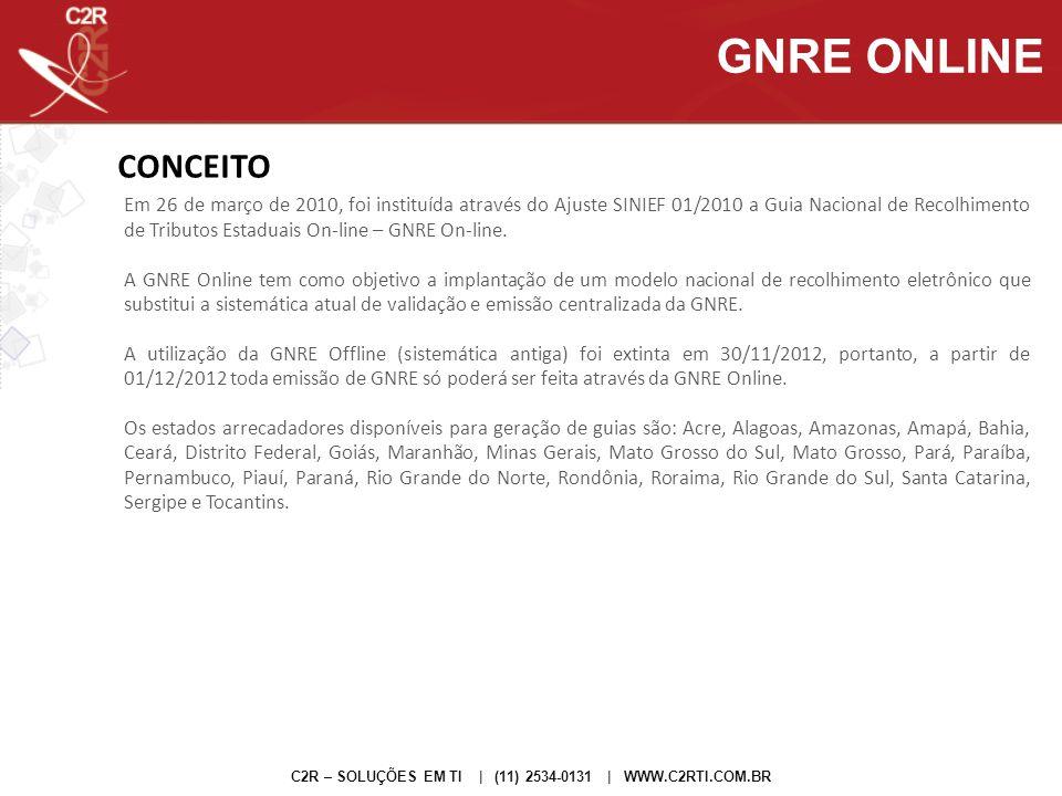 CONCEITO Em 26 de março de 2010, foi instituída através do Ajuste SINIEF 01/2010 a Guia Nacional de Recolhimento de Tributos Estaduais On-line – GNRE