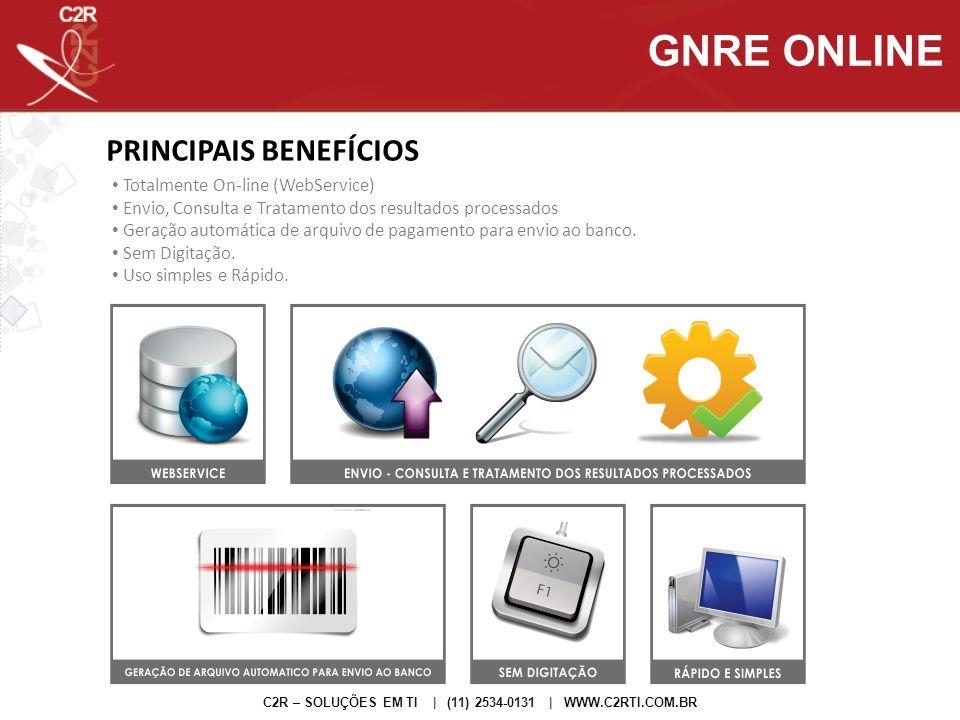 PRINCIPAIS BENEFÍCIOS C2R – SOLUÇÕES EM TI | (11) 2534-0131 | WWW.C2RTI.COM.BR GNRE ONLINE Totalmente On-line (WebService) Envio, Consulta e Tratament