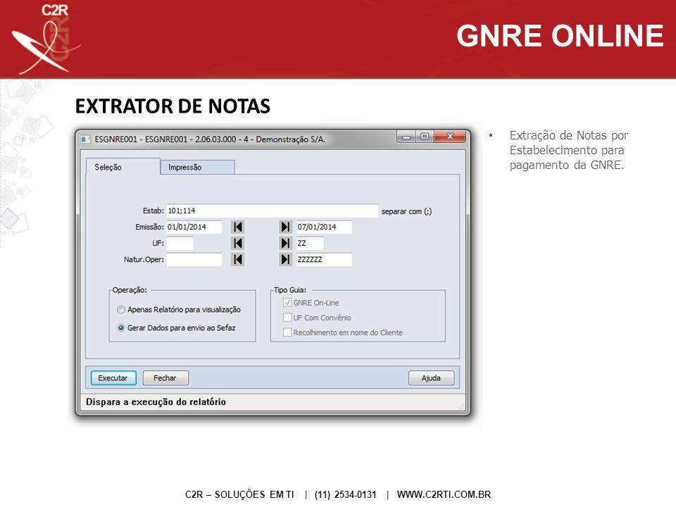 EXTRATOR DE NOTAS C2R – SOLUÇÕES EM TI | (11) 2534-0131 | WWW.C2RTI.COM.BR Extração de Notas por Estabelecimento para pagamento da GNRE. GNRE ONLINE