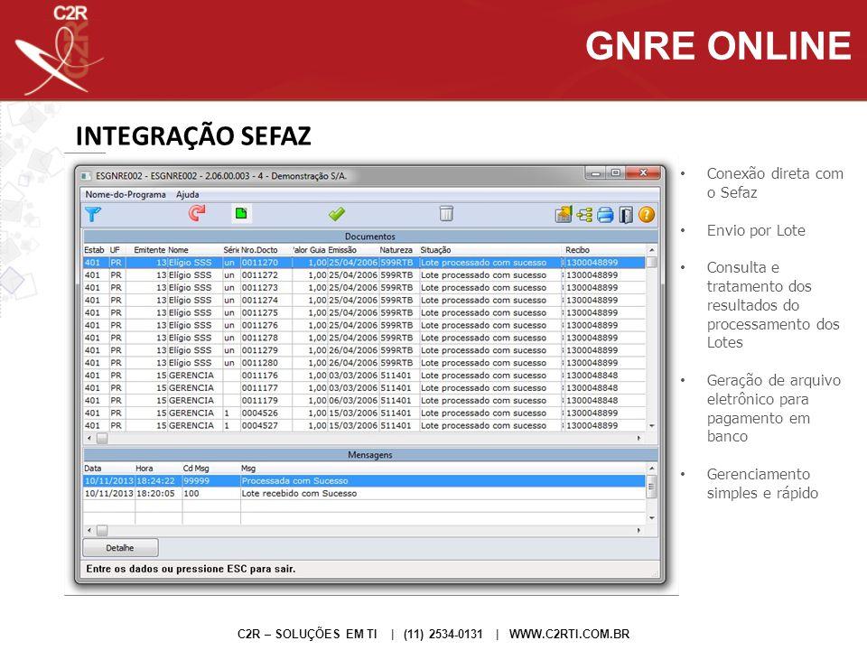 GNRE GERADA C2R – SOLUÇÕES EM TI | (11) 2534-0131 | WWW.C2RTI.COM.BR GNRE ONLINE Lotes enviados podem ser consultados no site da GNRE Arquivos de pagamento ao banco são gerados diretamente no sistema, não é necessário entrar no site para baixar