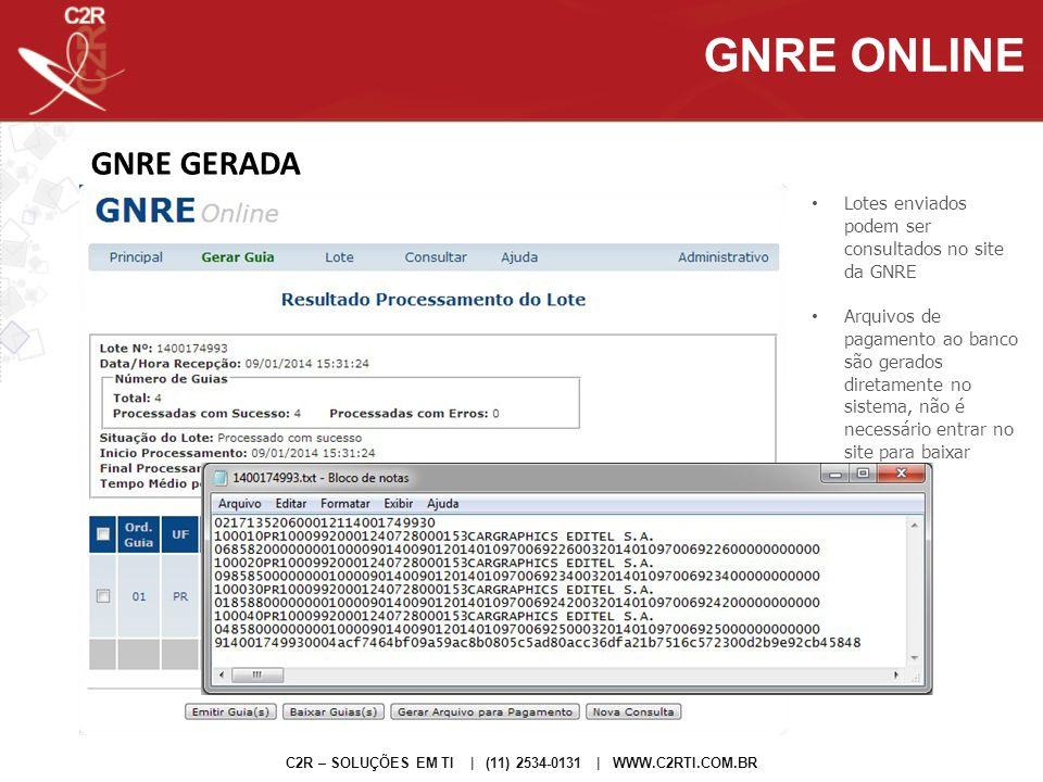 GNRE GERADA C2R – SOLUÇÕES EM TI | (11) 2534-0131 | WWW.C2RTI.COM.BR GNRE ONLINE Lotes enviados podem ser consultados no site da GNRE Arquivos de paga