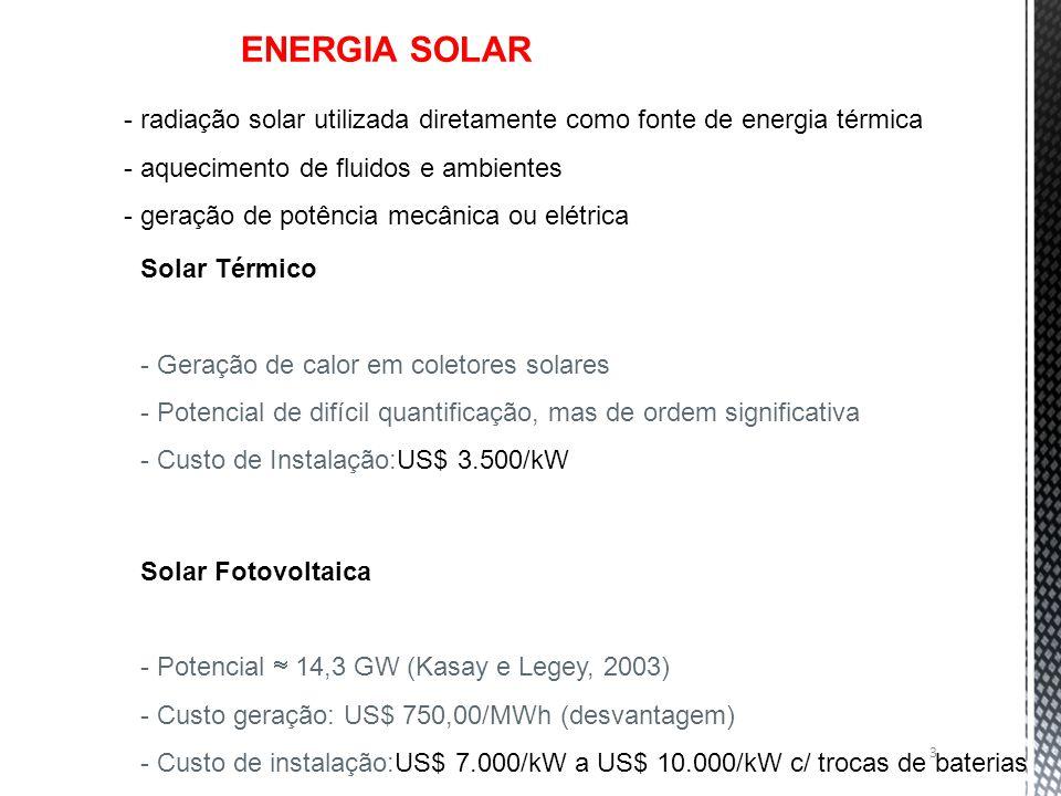 Solar Térmico - Geração de calor em coletores solares - Potencial de difícil quantificação, mas de ordem significativa - Custo de Instalação:US$ 3.500