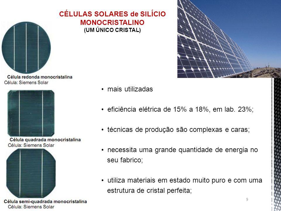 9 CÉLULAS SOLARES de SILÍCIO MONOCRISTALINO (UM ÚNICO CRISTAL) mais utilizadas eficiência elétrica de 15% a 18%, em lab. 23%; técnicas de produção são