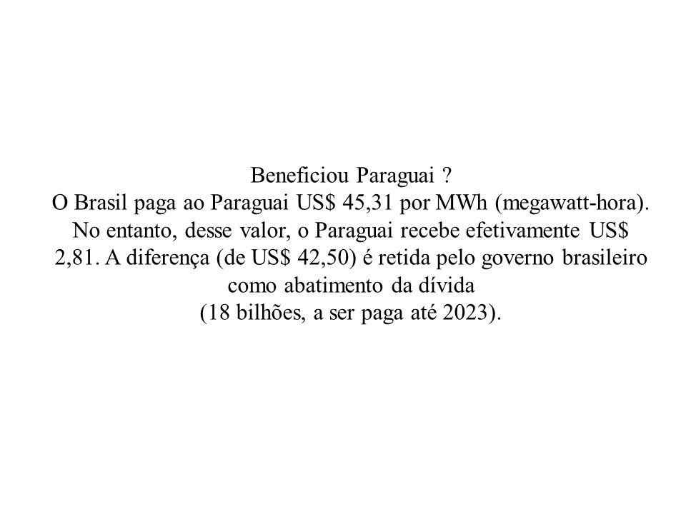 Beneficiou Paraguai .O Brasil paga ao Paraguai US$ 45,31 por MWh (megawatt-hora).
