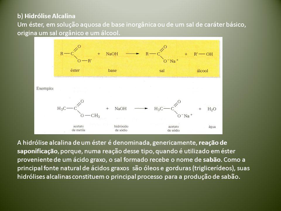 b) Hidrólise Alcalina Um éster, em solução aquosa de base inorgânica ou de um sal de caráter básico, origina um sal orgânico e um álcool. A hidrólise