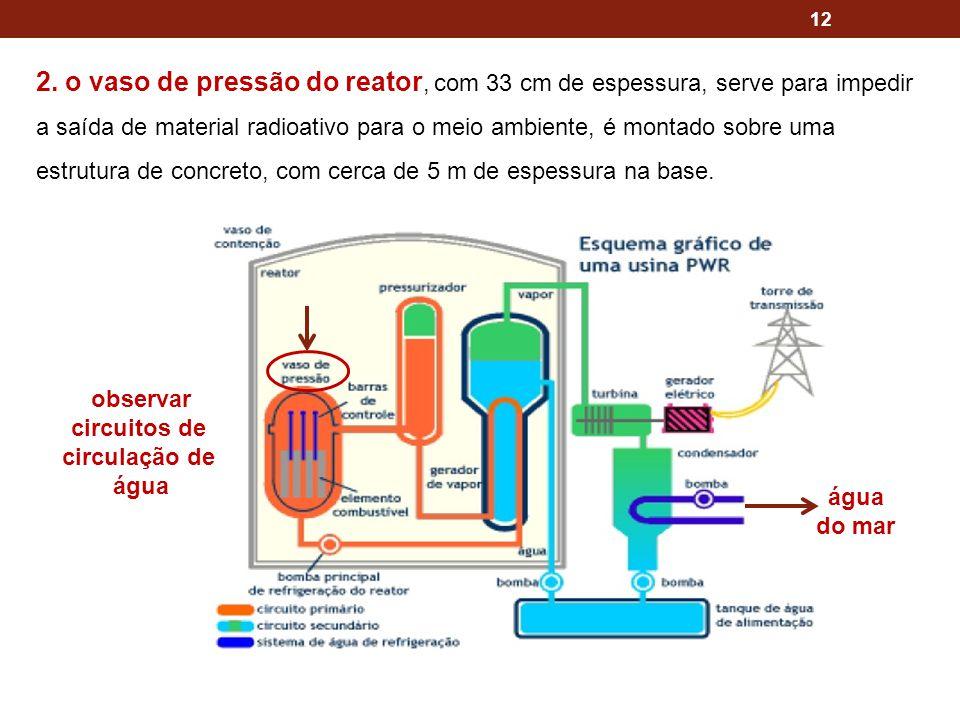 12 2. o vaso de pressão do reator, com 33 cm de espessura, serve para impedir a saída de material radioativo para o meio ambiente, é montado sobre uma