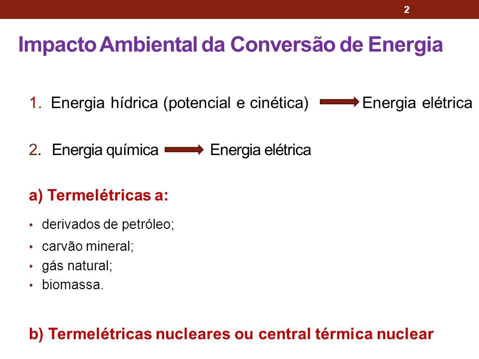 2 Impacto Ambiental da Conversão de Energia 2 2. Energia química Energia elétrica a) Termelétricas a: derivados de petróleo; carvão mineral; gás natur
