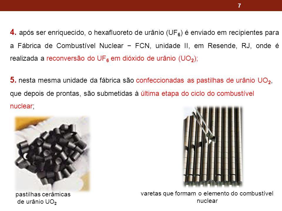 7 4. após ser enriquecido, o hexafluoreto de urânio (UF 6 ) é enviado em recipientes para a Fábrica de Combustível Nuclear FCN, unidade II, em Resende