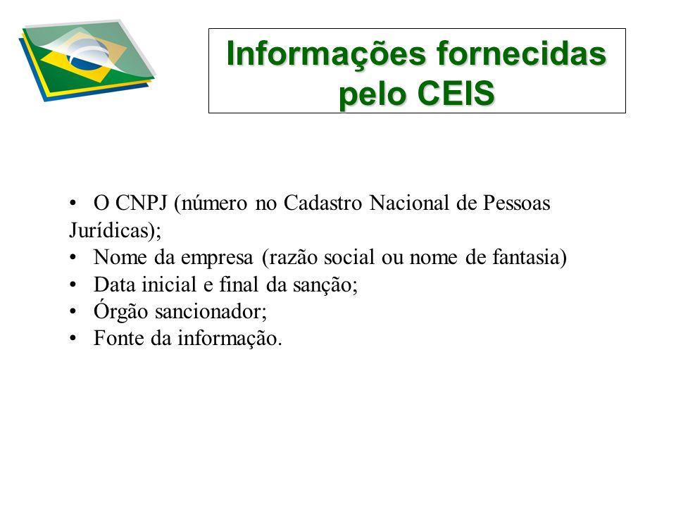 Informações fornecidas pelo CEIS O CNPJ (número no Cadastro Nacional de Pessoas Jurídicas); Nome da empresa (razão social ou nome de fantasia) Data inicial e final da sanção; Órgão sancionador; Fonte da informação.