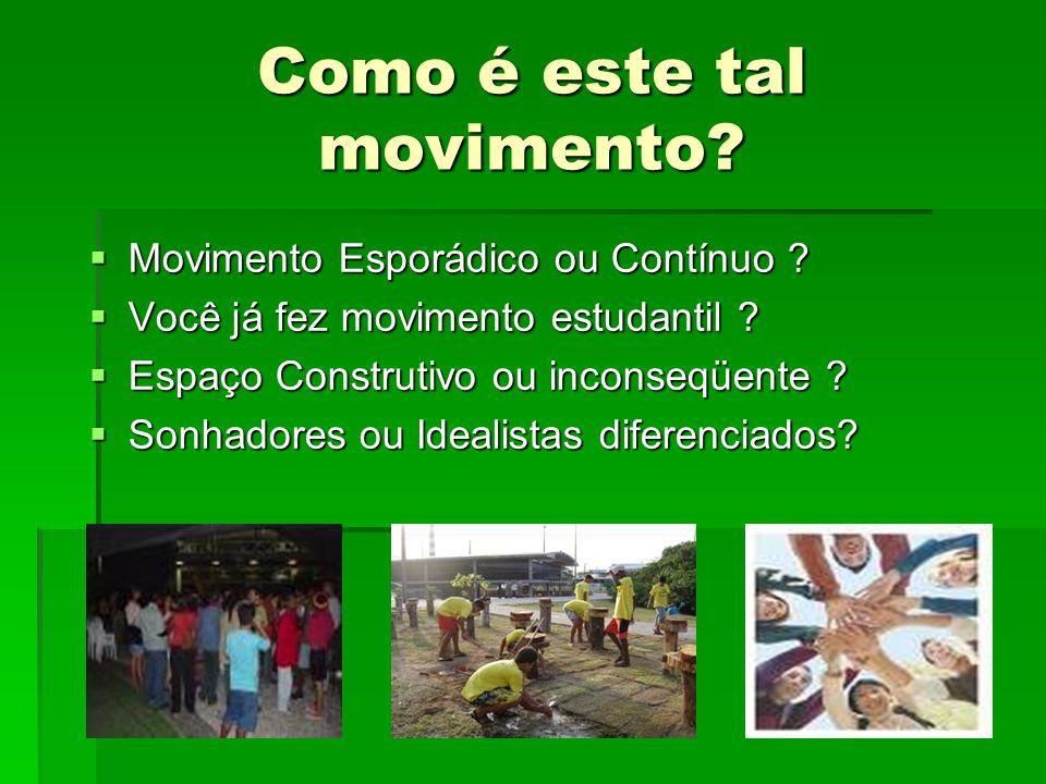 Como é este tal movimento? Movimento Esporádico ou Contínuo ? Movimento Esporádico ou Contínuo ? Você já fez movimento estudantil ? Você já fez movime