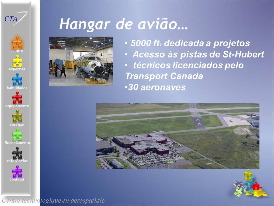 5000 ft 2 dedicada a projetos Acesso às pistas de St-Hubert técnicos licenciados pelo Transport Canada 30 aeronaves Assemblage géolocalisé Centre tech