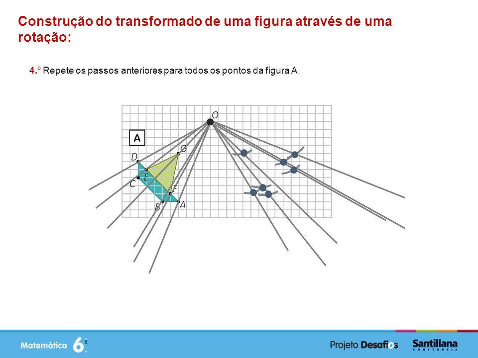Construção do transformado de uma figura através de uma rotação: 4.º Repete os passos anteriores para todos os pontos da figura A.