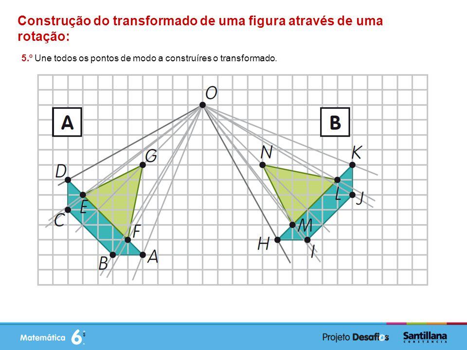 Construção do transformado de uma figura através de uma rotação: 5.º Une todos os pontos de modo a construíres o transformado.